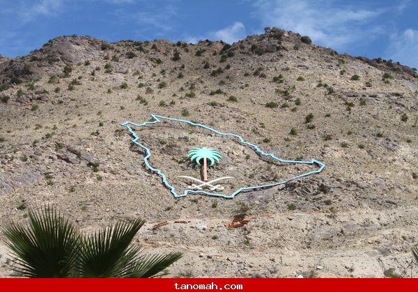 مجسم السيفين والنخلة على صدر جبل منعاء وسط تنومة