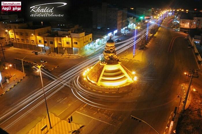 دوار تنومة اثناء مشروع التطوير في صورة التقطتها عدسة خالد عبدالرحمن من على سطح أحد الأبنية