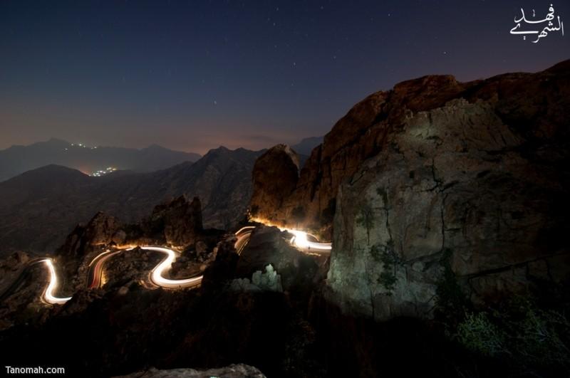 صورة ليلية من عقبة برمة 1434هـ - عدسة فهد الشهري