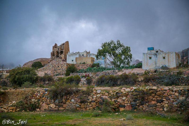 منظر لبيوت شعبية في قرية من قرى تنومة - عدسة بن جاري