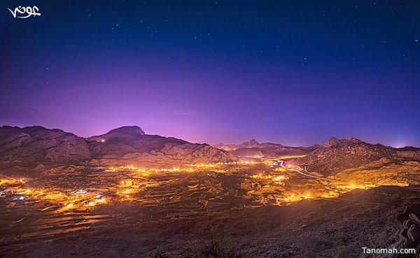 منظر ليلي لمحافظة تنومة