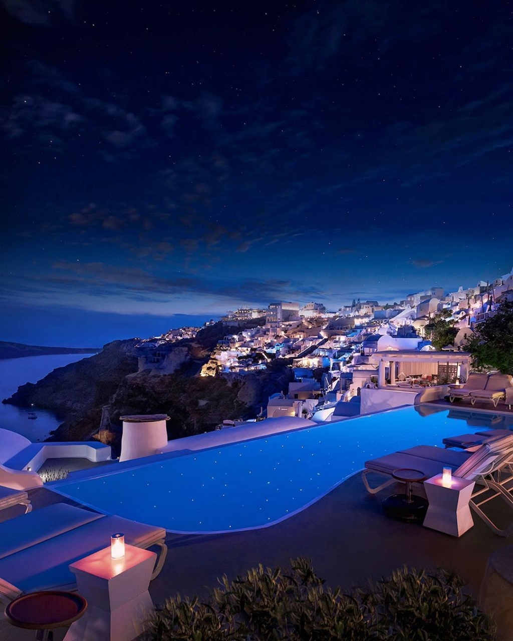 #سانتوريني في اليونان ليلا