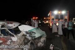 مصرع شاب وإصابة أربعة آخرين في حادث مروع على طريق ختبه بالمجاردة