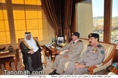 أمير منطقة عسير يستقبل اللواء محمد  الشهري  المعين مديراً للدفاع المدني بعسير