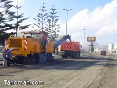 بلدية تنومة تواصل تحسين وتطوير الشارع العام