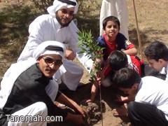 """طلاب """"الزبير بن العوام"""" يزرعون الأشجار وينظفون الحدائق"""