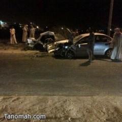 وفاة شابين واصابة أربعة في حادث تصادم بالنماص