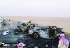 تفحم ثلاثة أشخاص في حادث مروري مروع