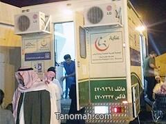 """جمعية """"عناية"""" تواصل تقديم خدماتها الميدانية الخيرية بمقر خيمة أبها"""
