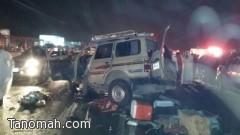 وفاة وإصابة 17 شخصاُ في حادث مروري بين محايل عسير وبارق