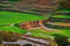 هطول أمطار غزيره  الى متوسطه على قرى بللحمر