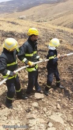الدفاع المدني يخمد حريقاً في مركز بللحمر