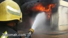 مدني محايل عسير يخمد حريق المحل التجاري