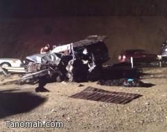 وفاة وإصابة 12 شخصاُ في حادث تصادم بعقبة ضلع