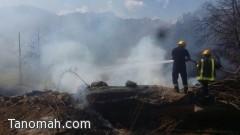 دفاع مدني تنومة يخمد حريق شمال تنومة ويحقق في الأسباب