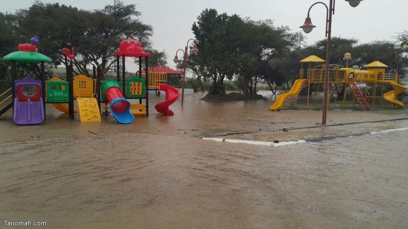 بالصور : أمطار غزيرة على تنومة والنماص وبعض محافظات ومراكز عسير