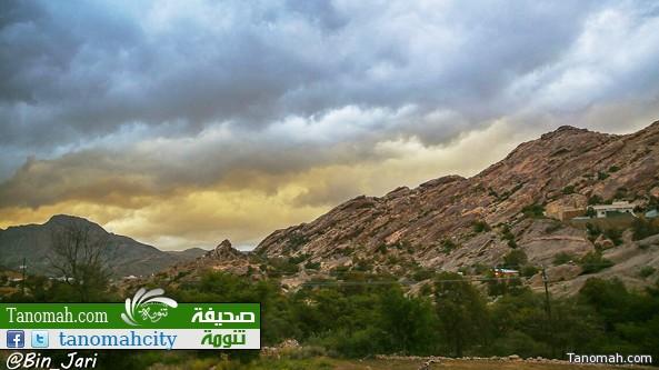 أمطار وأجواء تنومة اليوم الثلاثاء بعدسة بن جاري