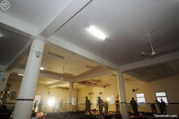 صور لآثار الاعتداء على مسجد قوات الطوارئ الخاصة بعسير