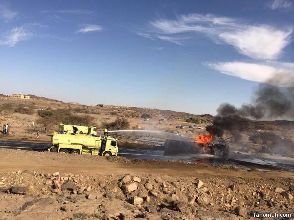 إخماد حريق في ناقلة وقود بوادي بن هشبل
