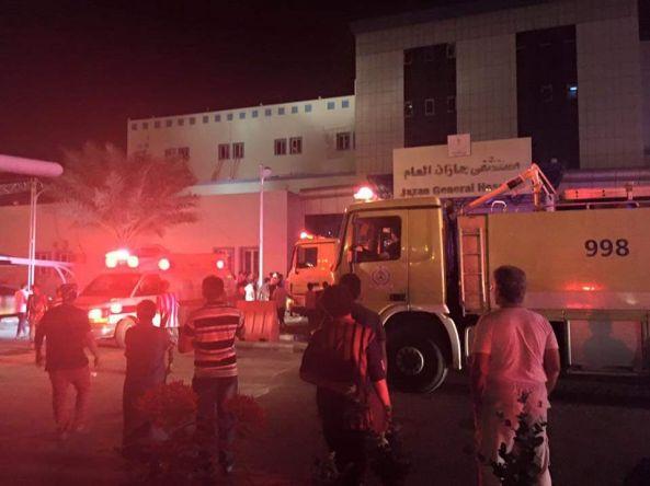 وفاة 25 حالة واصابة107 في حريق بمستشفى جازان العام