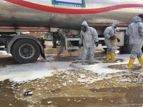 حالة استنفار في خميس مشيط على أثر تسرب وقود من ناقلة