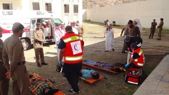 إصابة في فرضية نفذها الدفاع المدني في سجن #تنومة