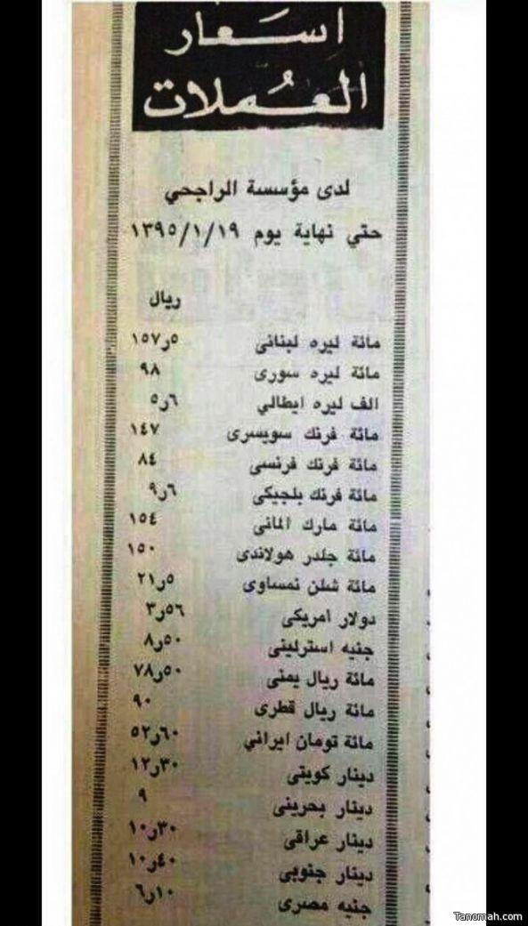 قائمة أسعار عملات قبل 42 عاماً تظهر نمو الاقتصاد السعودي وقوته