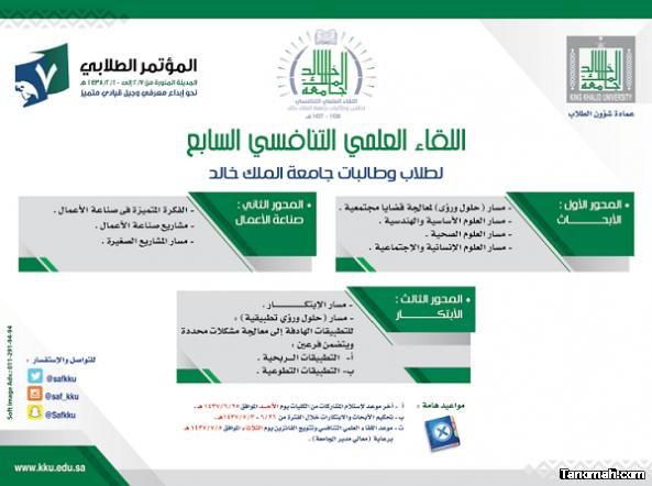 جامعة الملك خالد تطلق فعاليات اللقاء العلمي التنافسي الـ7