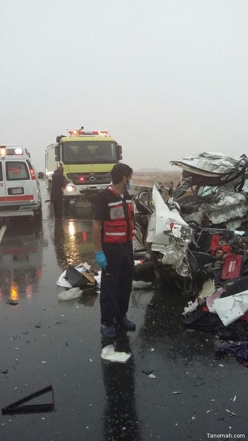 وفاة عائلة واصابة واحدة بحادث مروري ببيشة