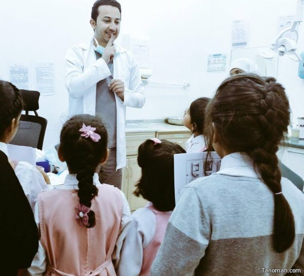 طالبات إبتدائية القذال يقمن بزيارة عيادة الأسنان بمركز صحي سهل #تنومة