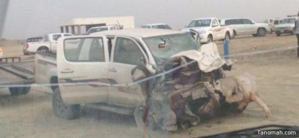 إصطدام سيارتين بطريق بحر أبو سكينة يسفر عن تفحم ثلاثة أشخاص