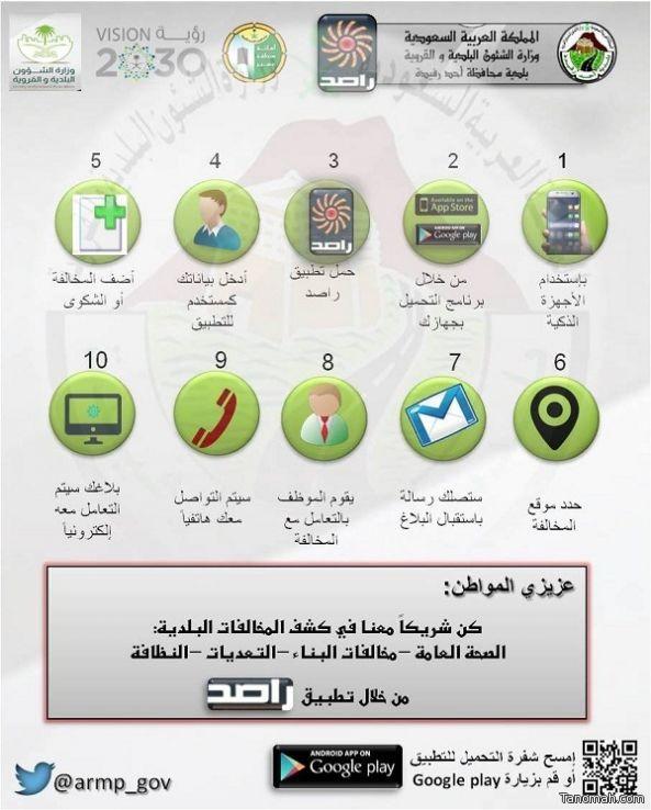 """تدشين تطبيق """"راصد"""" للخدمة التفاعلية المجتمعية للطوارئ البلدية بأحد رفيدة"""