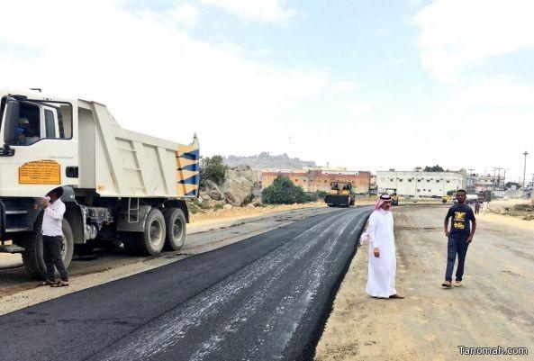 بلدية #النماص تواصل عملها في تطوير الشوارع لحل مشكلة الاختناقات المرورية