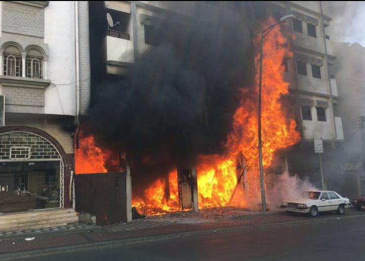 اصابتان وتلفيات في ممتلكات خاصة على اثر حريق بـ #أبها