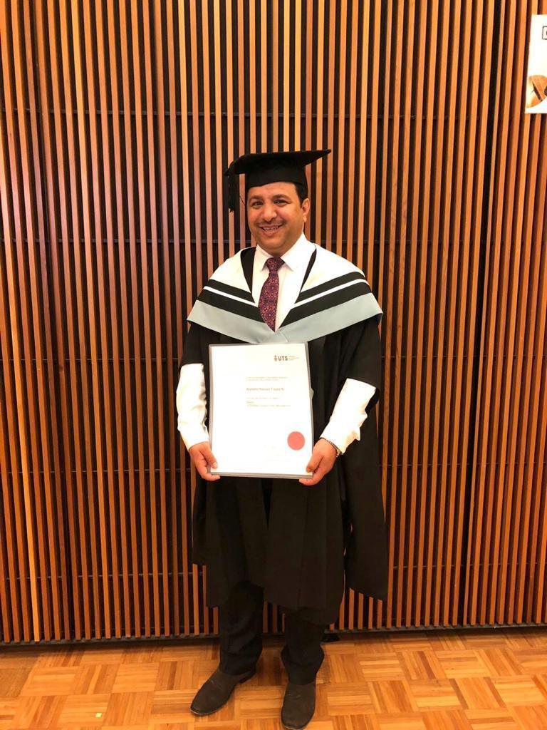 درجة الماجستير للأستاذ ناصر فايز ناصر الشهري من جامعة سدني للتكنولوجيا والتقنية