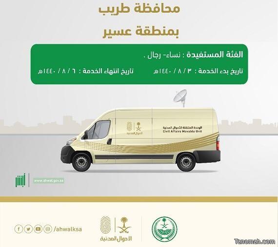 وحدة الأحوال المدنية المتنقلة تقدم خدماتها لأهالي محافظة طريب
