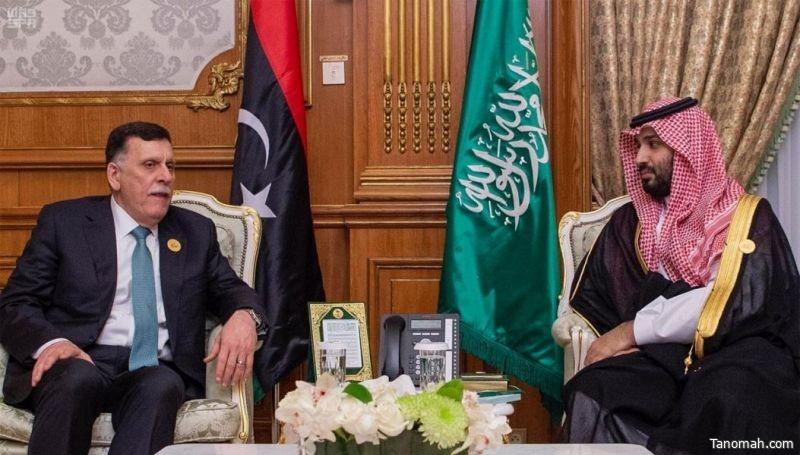 سمو ولي العهد يلتقي رئيس حكومة الوفاق الليبي