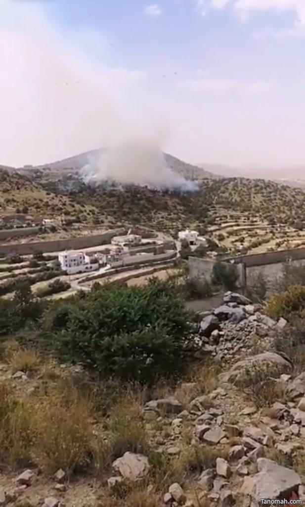 اخماد حريق بجبل الرحمة شمال #النماص