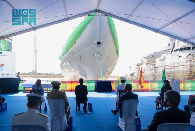 """صور مراسم تعويم سفينة جلالة الملك """"#جازان"""" في #اسبانيا"""