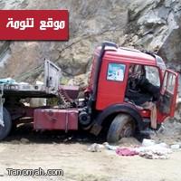 """حادث مروري لشاحنة محملة بـ """"الأرز"""" في عقبة القامة"""