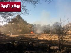 اخماد حريق شمال تنومة بشكل تام ودوريات المتابعة ما زالت حول الموقع