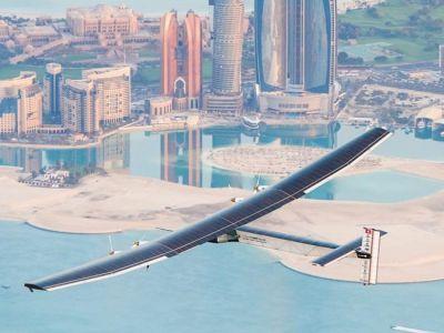 اقلاع أول طائرة تعمل بالطاقة الشمسية من أبو ظبي