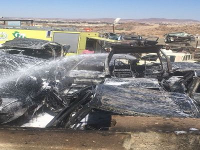 """عملية """"لحام"""" تشعل النار في محلات تشليح في #أحد_رفيدة"""