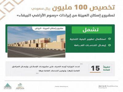 """برنامج """"رسوم الأراضي البيضاء"""" يخصص 100 مليون من إيراداته لإيصال خدمات البنية التحتية في مشروع """"إسكان العيينة"""""""