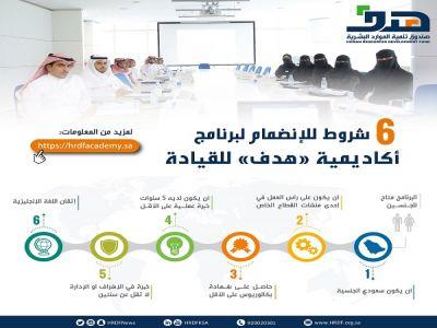 صندوق تنمية الموارد البشرية يوضح شروط الالتحاق في أكاديمية هدف للقيادة