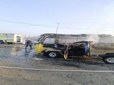 اصابة خطيرة لطالبة في حادث حافلة طريق #محايل #بارق