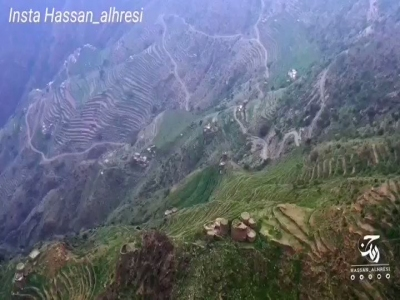 #فيديو: جبال الحشر ؛المدرجات الزراعية..ابداع الإنسان في هندسة الطبيعة الجبلية  ... حسن الحريصي
